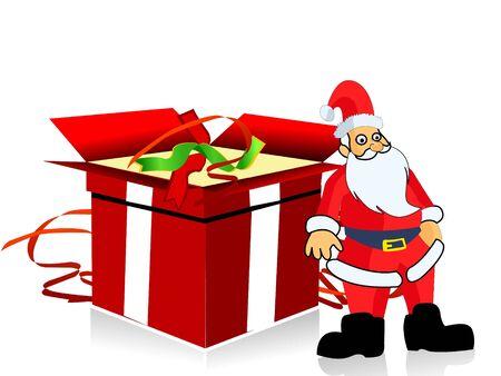 kerstman met cadeau op geïsoleerde achtergrond