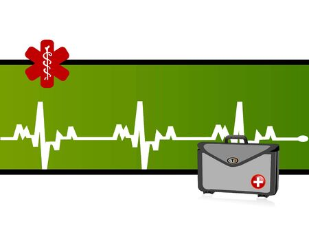 heartbeat and medical kit on text template background