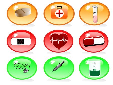 medical icons in circle
