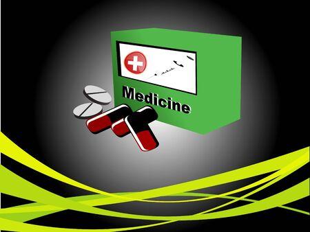 EHBO-kit en pillen op helling achtergrond