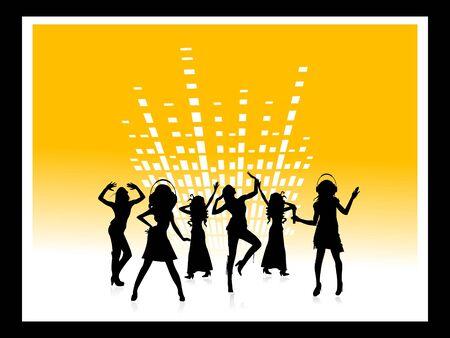 mensen dansen op equalizer achtergrond     Stockfoto