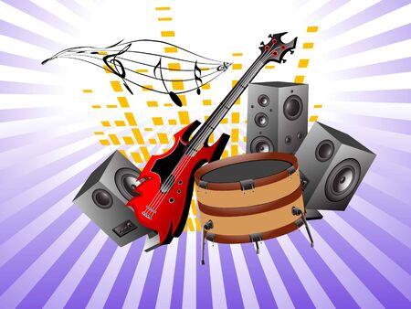 musical instruments on sunburst background  Stockfoto