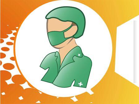 arts met masker in circulaire halftoonraster achtergrond