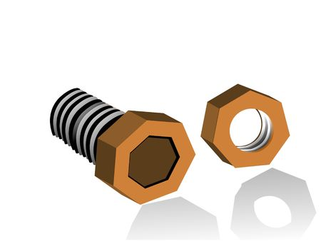 nut and bolt on isolated background