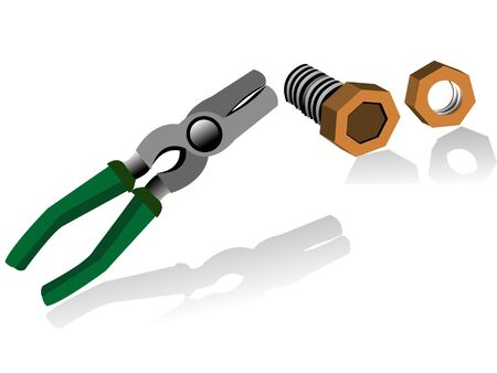 plier and nut-bolt on isolated background   Stock Photo - 3315995