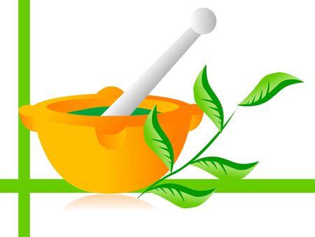 아유르베 다 의학 및 잎