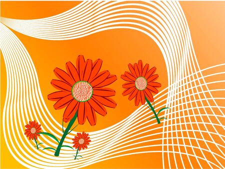 Bloemen op swirly achtergrond Stockfoto - 3316448