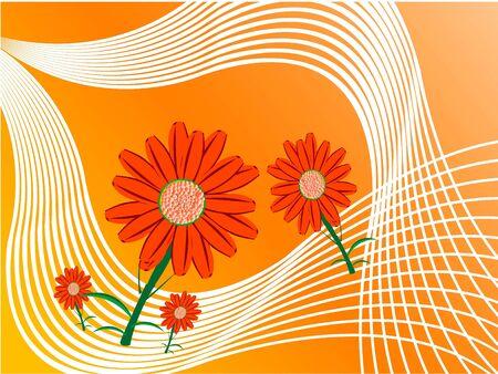 flourishing: flowers on swirly background