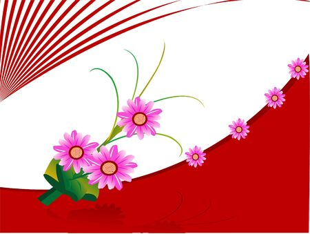 floral stick on abstract background