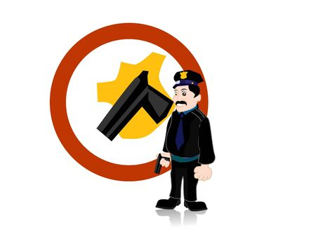 policeman with gun on circular isolated background   photo
