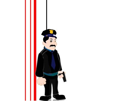 inspector: police inspector on striped background