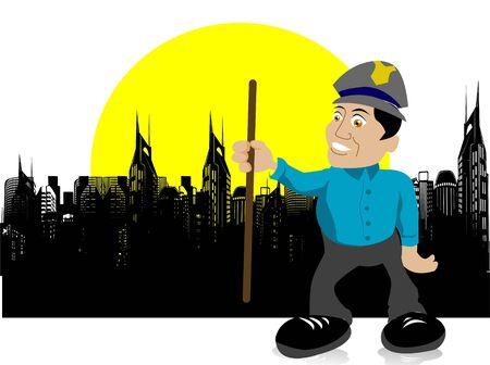 Constable met stok op stadslandschap Stockfoto - 3316379