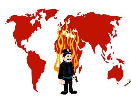 politie agent via vlam op worldmap