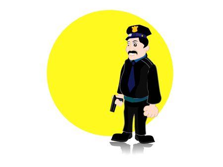 police with gun on abstract circular background   Stok Fotoğraf