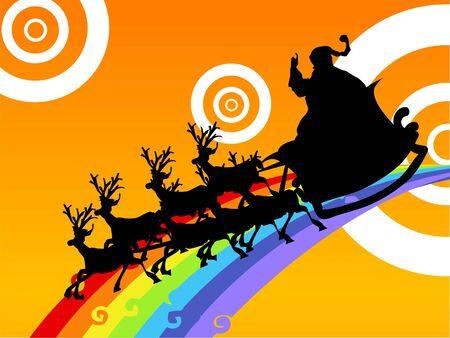 Santa claus op rendier wagen via Regenboog     Stockfoto