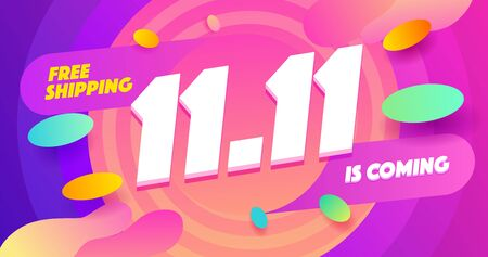 Abstract 11.11 sale banner with Singles Day for special offers, shopping holiday sales and discounts. Promotion and shopping template for Double 11 day