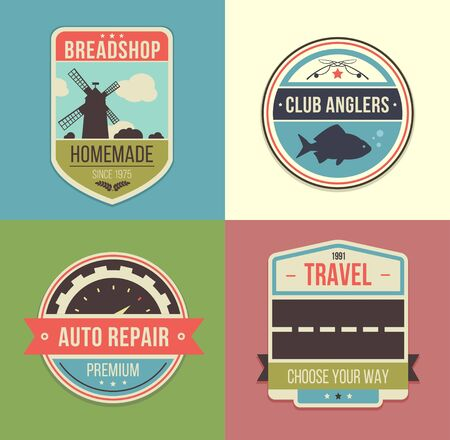 Set of vintage travel badges and logo emblems. Vector illustration