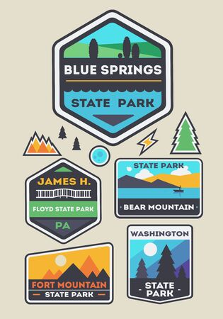 Set of state park and nature logo badges. vector illustration.