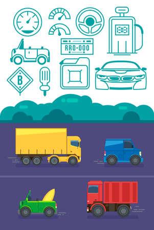 Vector retro car icon set. Flat design. Modern car icon isolated vector graphic. 일러스트