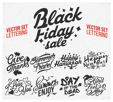 Vector set of holidays lettering. Holiday text lettering for invitation and greeting card