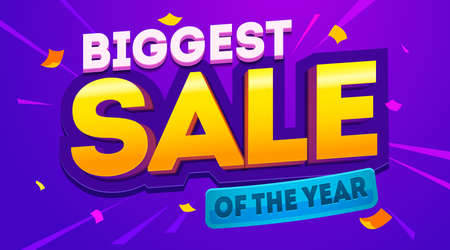 Biggest sale banner. Sale and discounts. Vector illustration
