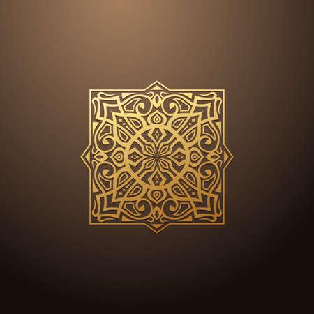 Linear design elements. Vector design gold ornament.  design templates Ilustração