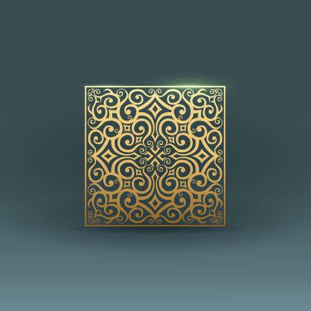 Linear design elements. Vector design gold ornament.