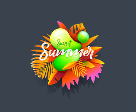 Summer sticker, tropical banner template. Liquid abstract bubble with tropic flowers, floral and geometric elements. Vector Suitable for social media posts, mobile apps, t-shirt Illustration
