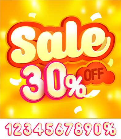 Sale banner design. Orange background. Vector illustration 向量圖像