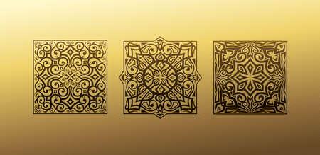 Linear design elements. Vector design gold ornament for your design, web page Ilustração