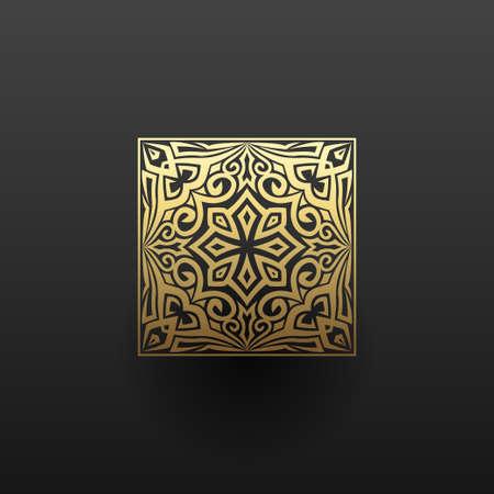 Linear design elements. Vector design gold ornament. Logo design templates