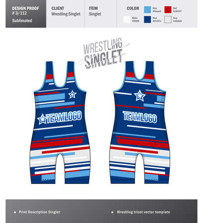 Singlet vector template. Wrestling tricot design template Vektorové ilustrace