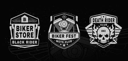 Set of motorcycle labels, badges .Sports insignia emblem set. Motorcycle vintage design.