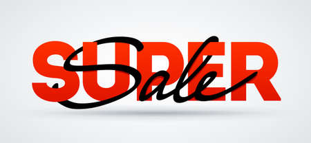 Super sale banner. Sale and discounts. Vector poster illustration.