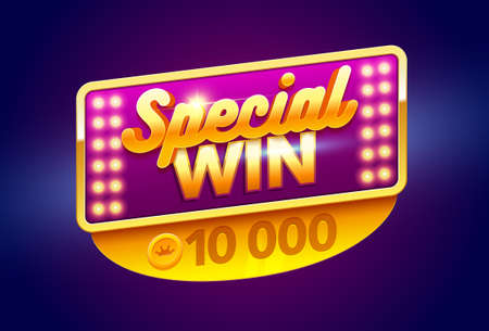 Retro sign with lamp Special Win banner. Vector illustration design with poker