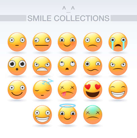 Set of vector emoticons. Smile icons. Isolated vector illustration on white background. Vector Emoji Vetores