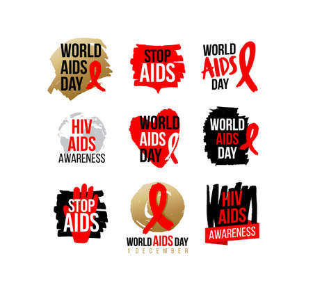 Aids and Hiv Awareness Red Ribbon. WORLD AIDS DAY CAMPAIGNS icon, badges, sticker, label, tag design for advertising campaign. Stop Aids. 1 December