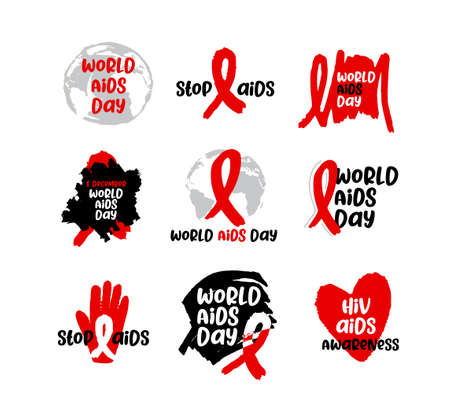 World Aids Day 1 December International day for global health. Vector label AIDS and Hiv illustration. Red ribbon icon set.