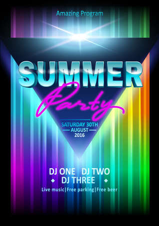 DJ summer party, night club show poster. Poster template. Summer Beach Party Flyer Vektorové ilustrace