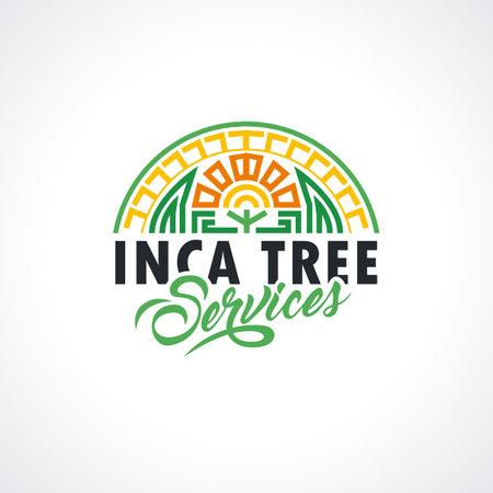 Incas template. Tree services illustration for your company. Maya Vector element for your design, identity, corporation, shop. Ilustración de vector