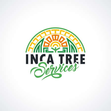 Incas template. Tree services illustration for your company. Maya Vector element for your design, identity, corporation, shop.
