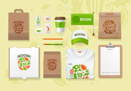 Vector food identity template design set. Branding MockUps. Packages Mock-up Pack for your company. Mexican food template