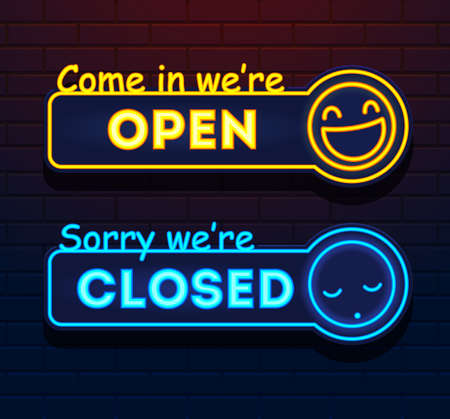 Neon Open and Closed vector signs. Lights Open Closed Vector store signs on a brick wall. Come in were open. Sorry were closed. Vector Ilustração