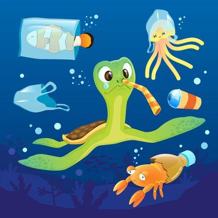 Ocean pollution impacts on sea turtle and sea animals, Sad of sea animal. Illustration