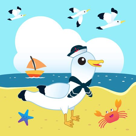 Sailor seagull on the beach with funny crab and starfish. Stock Illustratie