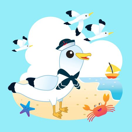 Sailor seagull on the beach with funny crab and starfish. Vectores