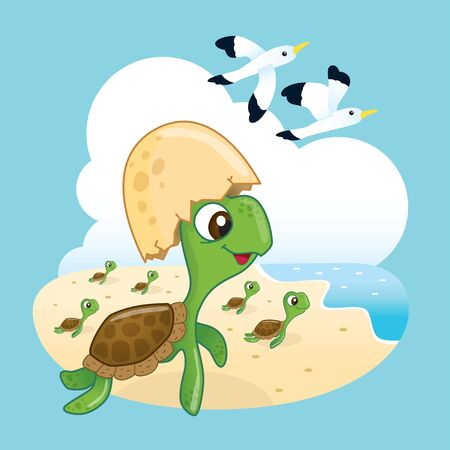 Cute sea turtles leave the eggs and heading to the ocean with happiness. Иллюстрация