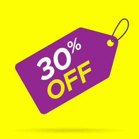 Discount label, tag. 30 percent off. For sales promotions. Vector illustration. Editable