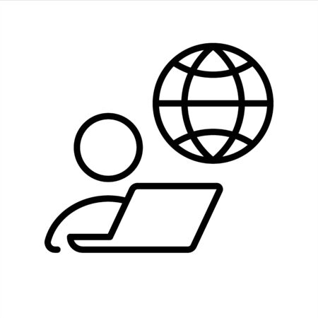 Remote job, home office, work from home. Vector line icon. Editable illustration. Pictogram.