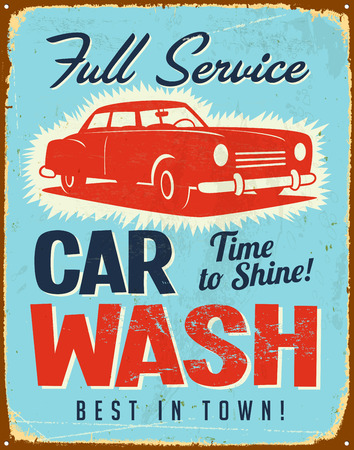Vintage metal sign - Car Wash - Vector EPS10. Grunge effects can be easily removed. Çizim